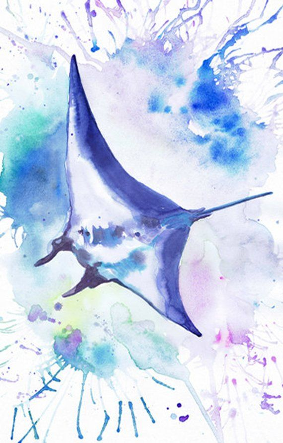 Manta Ray Art Print Ocean Animals Watercolor Painting Under Etsy