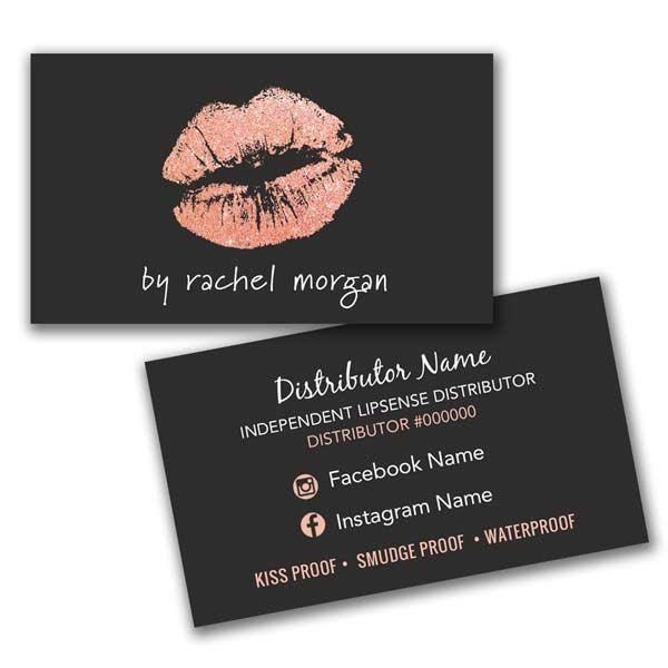 Makeup Artist Business Card Rose Gold Lipsense Business Card Business Card With Lips Makeup Artist Business Cards Makeup Business Cards Artist Business Cards