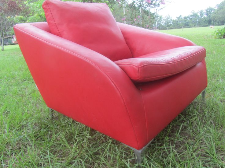 Mid Century Chair, Mid Century Modern, MCM, Ligne Roset made in France, Red Leather Chair by KarensChicNShabby on Etsy