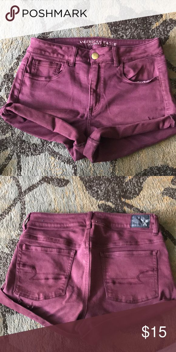 High wasted maroon shorts High wasted maroon shorts! Super cute, just don't fit them anymore! American Eagle Outfitters Shorts Jean Shorts