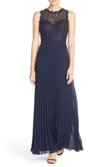 Free shipping and returns on Xscape Lace & Pleat Chiffon Gown (Regular & Petite) at Nordstrom.com. Scalloped floral lace sculpts the illusion sweetheart bodice atop this timeless evening gown that shifts to impeccably pleated chiffon at the waist to create a flowy, fluid silhouette.