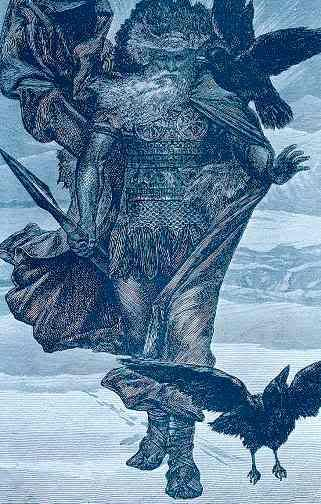 """Hugin and Munin- In old Norse, Huginn means, """"Thought"""" and Muninn means, """"Desire"""".  These names belong to two ravens in Norse mythology who are shamanic helping spirits of the god Odin."""