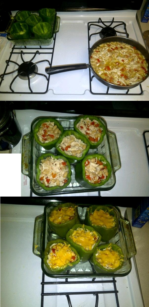 Chicken and White Bean Stuffed Peppers . http://www.skinnytaste.com ...
