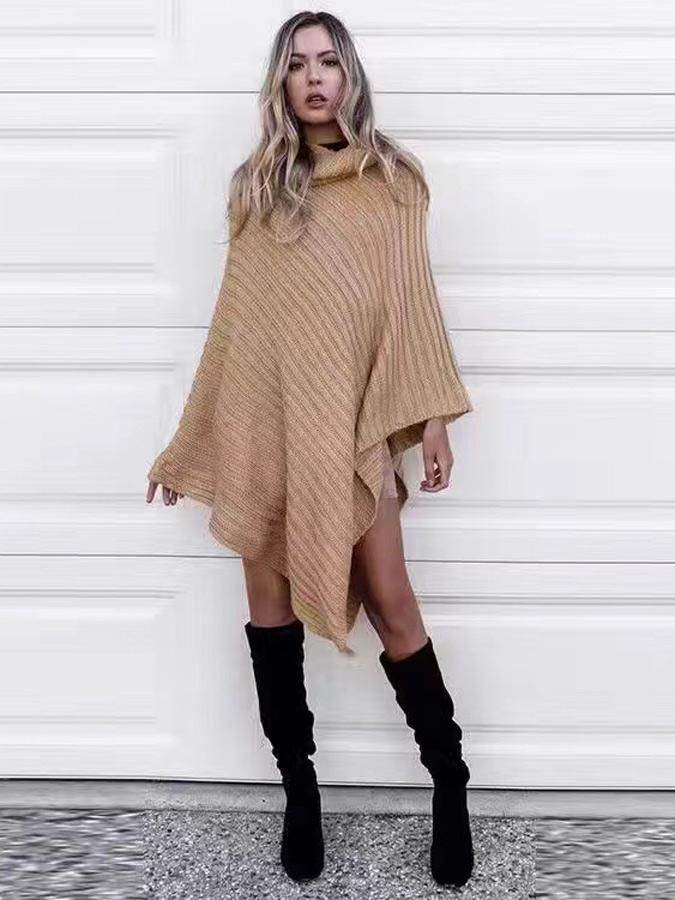 pure color high neck batwing sleeve tippet sweater