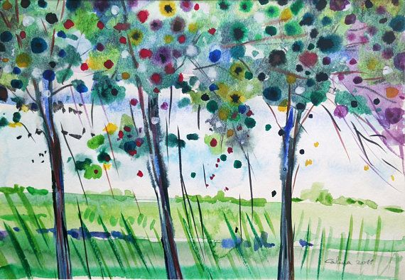 Watercolour Painting 12 Trees Original Landscape On Paper Summer
