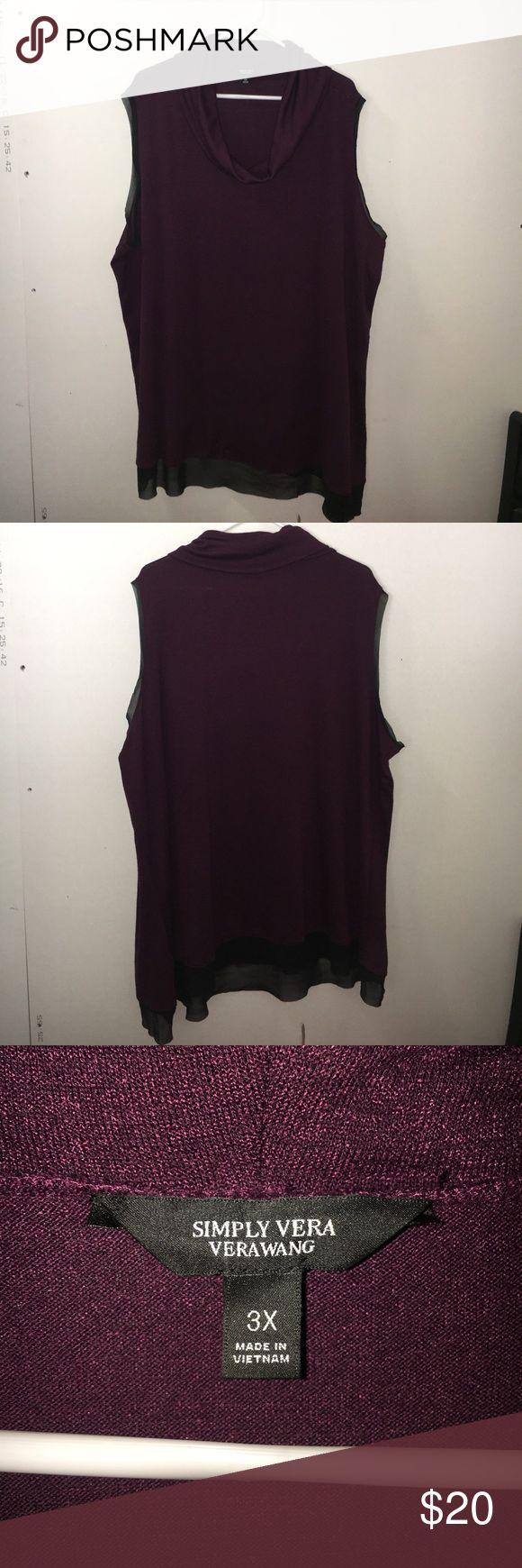 Simply Vera- Vera Wang size 3X purple top Simply Vera- Vera Wang 3x purple sleeveless top. Super cute Simply Vera Vera Wang Tops Tunics