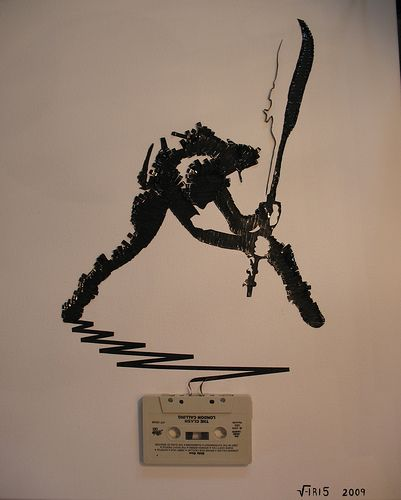 Ghost in the Machine: The Clash    London Calling. : ) Cassette tape on canvas, for Sam, 2009 (Check out the largest size to really see the detail)