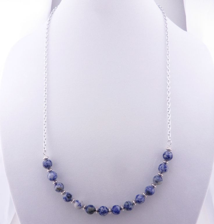 """Natural Blue Spot Stone Stainless Steel Chain 30"""" Necklace"""
