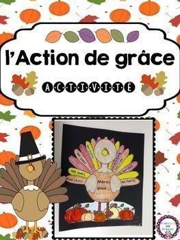 FREE/GRATUIT - L'Action de Grâce French Turkey Activity for Thanksgiving