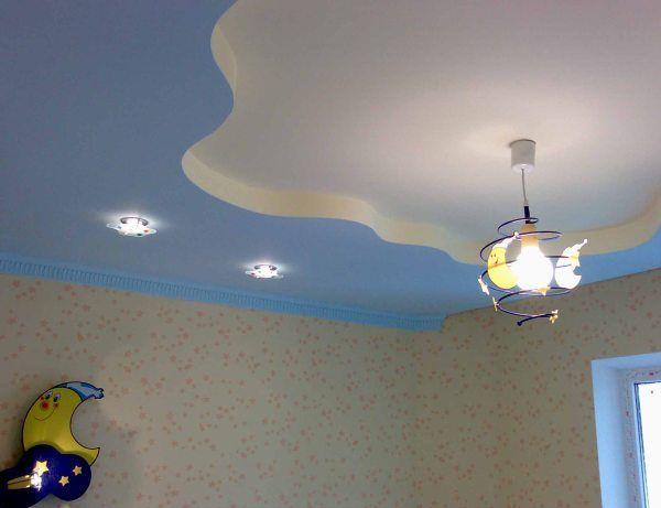 подвесной гипсокартонный потолок в детской