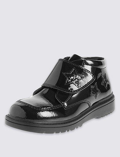 Kids' Freshfeet™ Coated Leather Patent Ankle Boots with Silver Technology | Marks & Spencer London