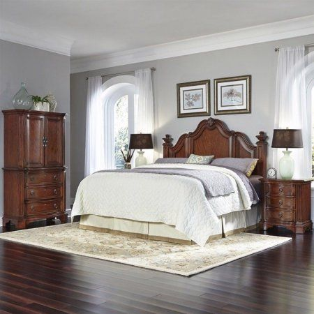 Home Styles Santiago King/California King Headboard, 2 Night Stands and Door Chest, Brown