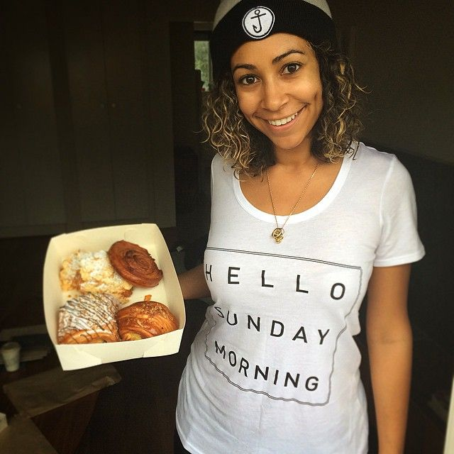Model Jazz Bell wearing out Women's White Shutter Tee. #HelloSundayMorning