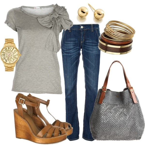 Outfit: Shoes, Bows Shirts, Woman Dresses, Jeans, Fashionista Trends, Styles, Wedges, Cute Outfit, Bags