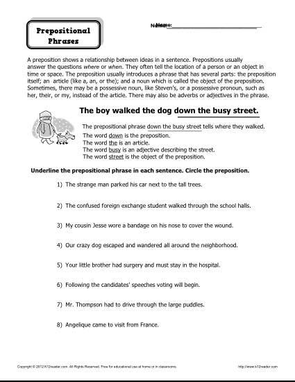 preposition worksheet prepositional phrases prepositional phrases free printable worksheets. Black Bedroom Furniture Sets. Home Design Ideas