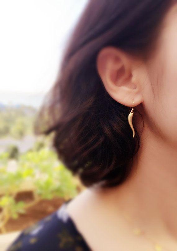 Gold Italian Horn Dangle Earrings-Italian Horn Earrings-Gold