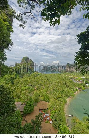 http://www.shutterstock.com/pic-244064317 Thailand, Railay Beach From One Of Two View Point Hike,S Through It Cliff Like Mountain Forests. Below You Can See Two Of Its Three Tropical Beach Bays And Palm Tree Forests In Between Stock Photo 244064317 : Shutterstock #thailand #stockphoto #thailandphoto #stockimage #thailandstock