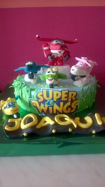 tarta de cumpleaños, fondant, Super Wings