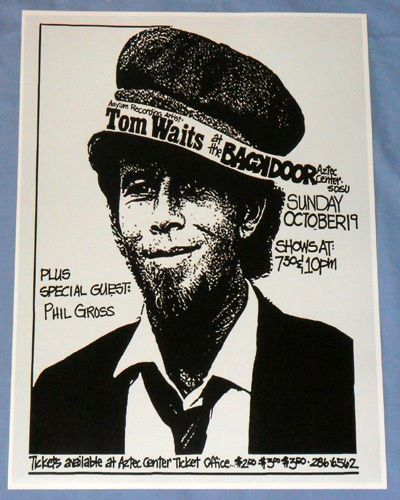 "Tom Waits Concert Poster - ""Nighthawks At The Diner"" Tour - San Diego in Entertainment Memorabilia, Music Memorabilia, Rock & Pop, Artists W, Waits, Tom 