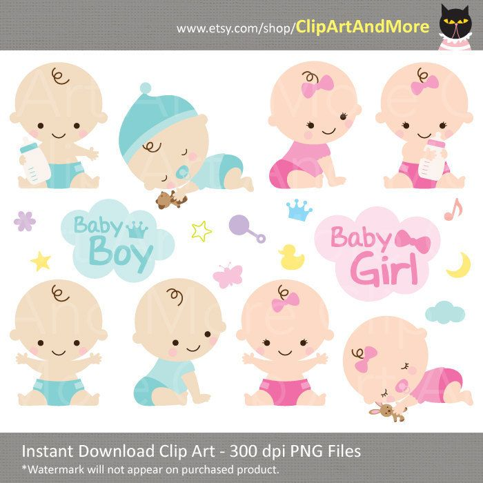Bebé ducha Clipart Clip arte bebé niño niña por ClipArtAndMore