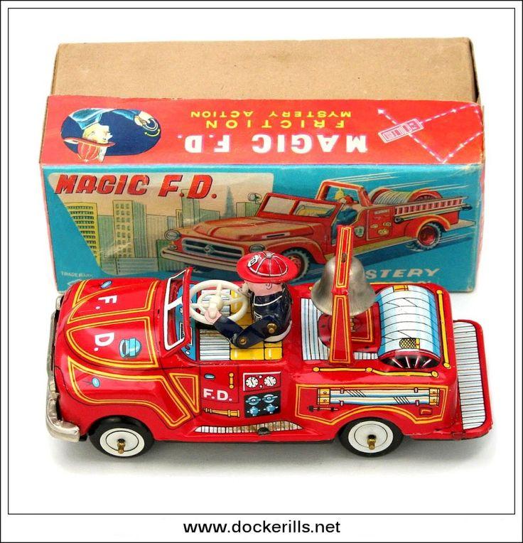 Magic FD Fire Engine, YOSHIYA, Japan. Vintage Tin Litho Tin Plate Toy. Wind-Up / Gyro Action Mechanism.