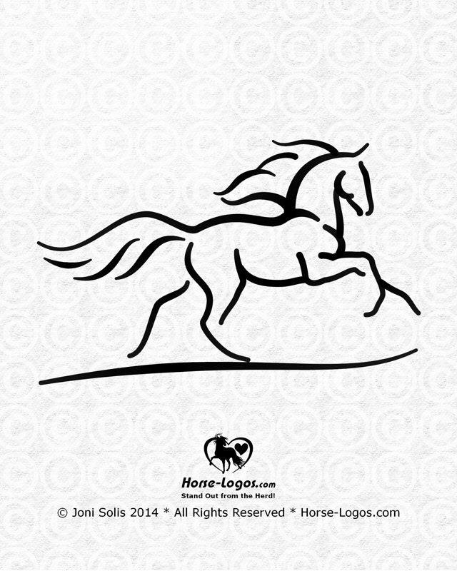 Cantering horse graphic by Joni Solis -- I added some lines for the mane and tail and made a few changes to the horse's form. Feedback is welcome.