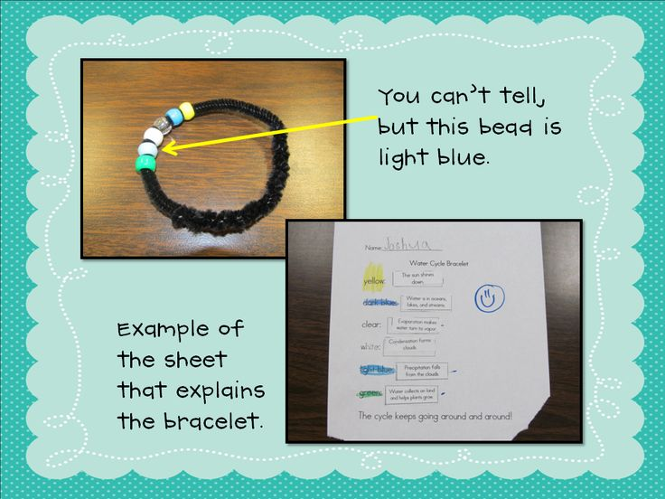 : Bracelets Ideas, Teaching Tools, Sciencesoci Study, First Grade Science, Water Cycle, Water Cycling Activities, Terrif Teaching, Pipes Cleaners, Cycling Bracelets