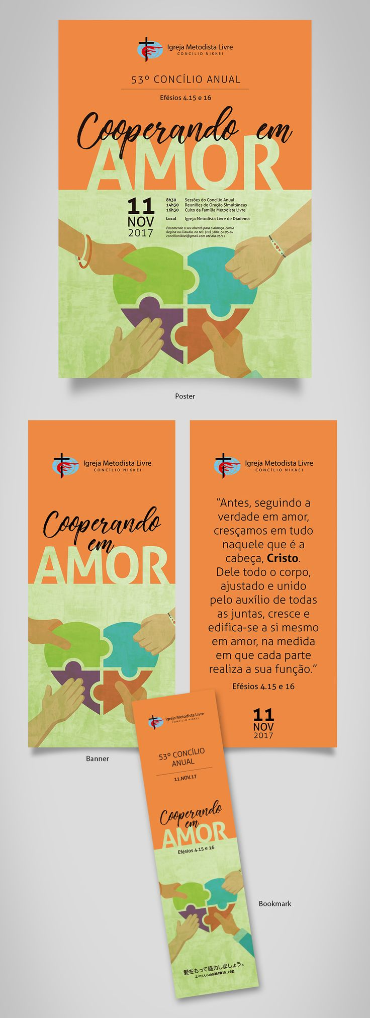 Free Methodist Church in Brazil (Nikkei council), poster, banner and bookmark - designed by Sandra H. V.