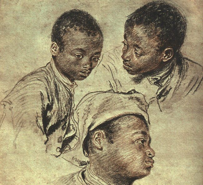 'trois des études d'un garçon', huile de Jean Antoine Watteau (1684-1721, France)