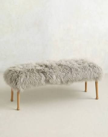 anthropology bedroom bench fluffy white - Google Search