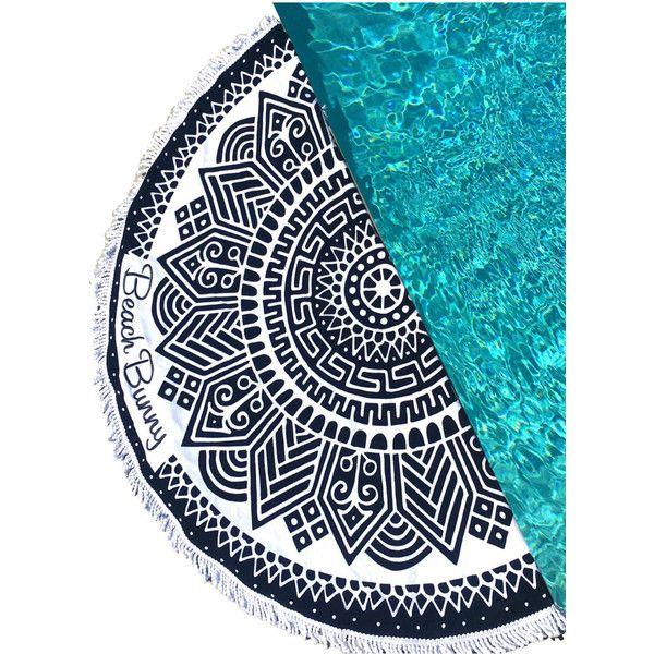 Beach Bunny Swimwear Round Circle Towel (€94) ❤ liked on Polyvore featuring home, bed & bath, bath, beach towels, circle, circular, round, beach bunny and white beach towel