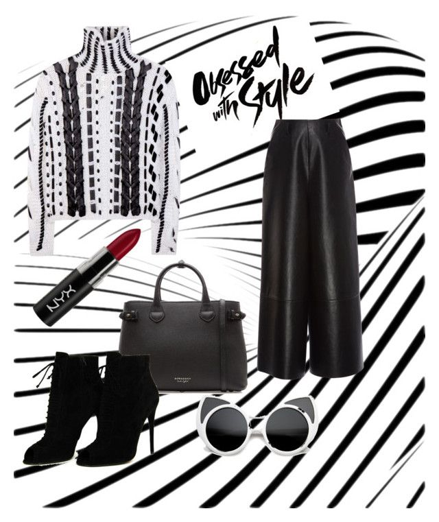 """Black and white"" by wearitblack on Polyvore featuring Burberry, Altuzarra, Lanvin, Tom Ford and NYX"
