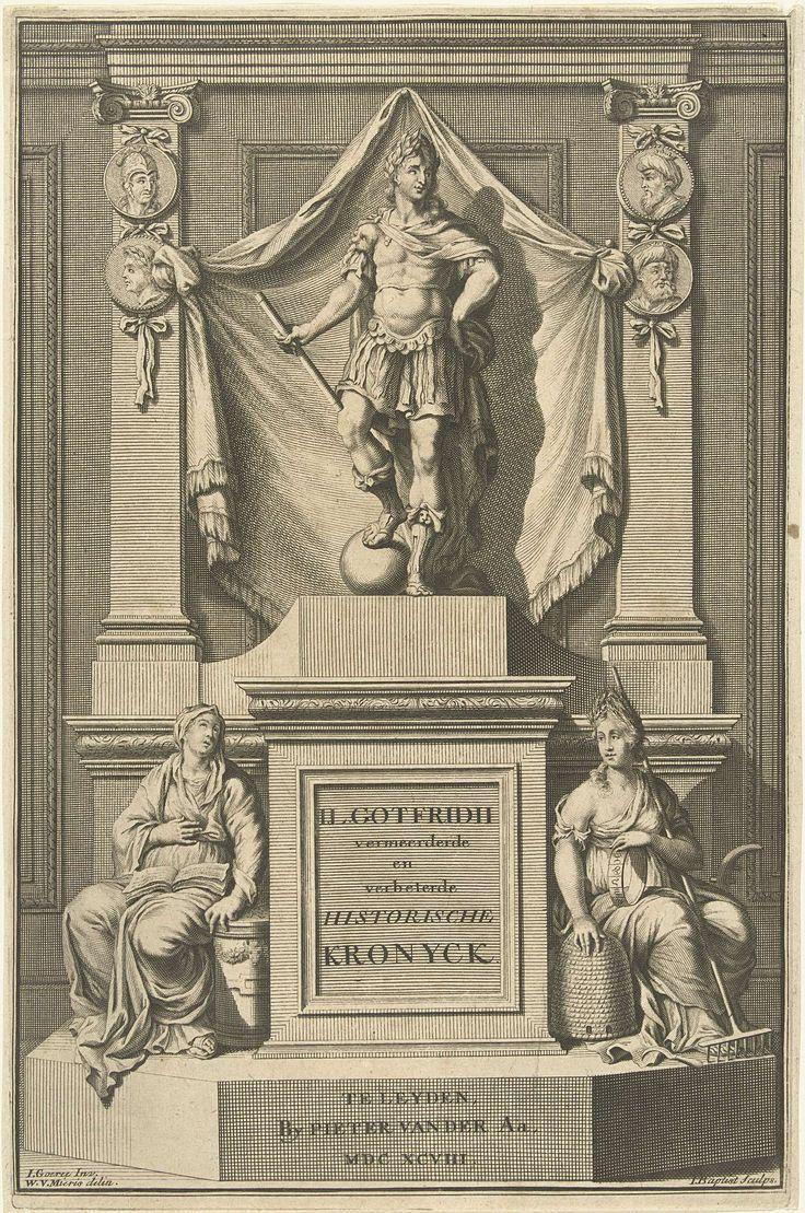 Jacobus Baptist | Romeinse keizer op een sokkel, Jacobus Baptist, Pieter van der Aa (I), 1698 | Beeld van een Romeinse keizer op een sokkel, aan zijn voeten twee allegorische vrouwenfiguren.