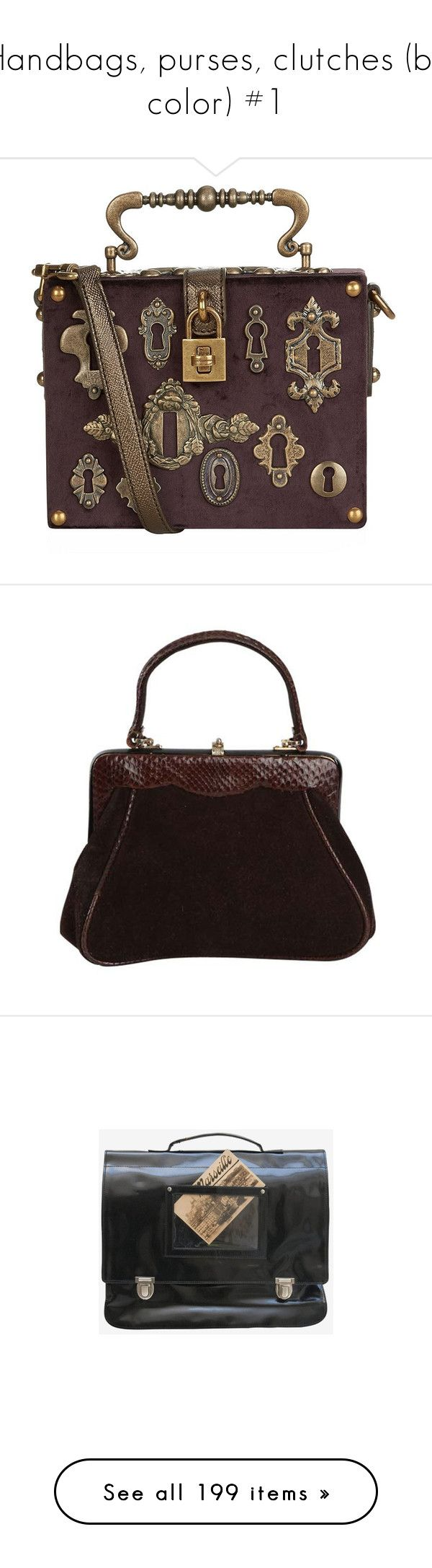 """""""Handbags, purses, clutches (by color) #1"""" by suzeetoo ❤ liked on Polyvore featuring gothic, steampunk, bags, handbags, purses, accessories, handbags purses, hand bags, evening hand bags and top handle purse"""