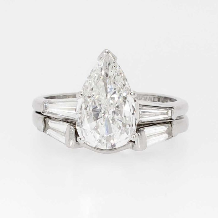 Glorious 2.02ct t.w. Estate Pear Diamond & Baguette Accent Engagement Ring Set Platinum | Antique & Estate Jewelry | Jewelry Finds
