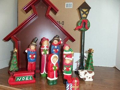 Wooden Carolers Magnetic Set $85 Retail Midwest Cannon Falls Hand Painted New | eBay
