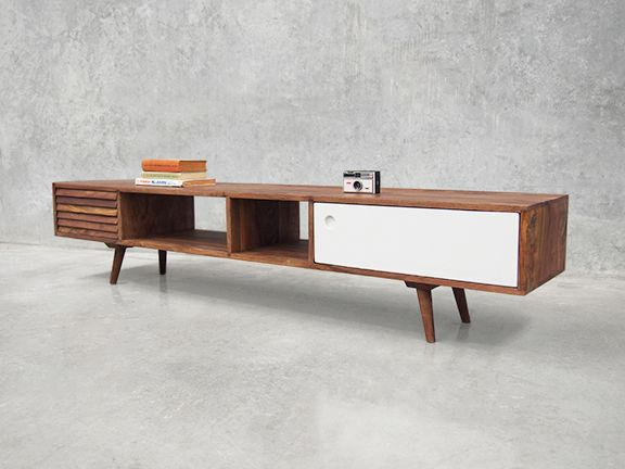 avantgardistisches retro sideboard oslo 180 x 35 wundersch nes lowbord im vintagelook aus. Black Bedroom Furniture Sets. Home Design Ideas