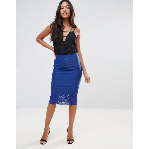 Vesper Lace Midi Skirt (£20) ❤ liked on Polyvore featuring skirts, blue, high waisted midi skirt, midi pencil skirt, lace pencil skirt, bodycon midi skirt and high waist knee length pencil skirt