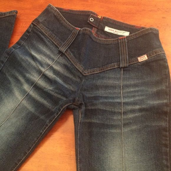 """MISS SIXTY """"Flare Nixie"""" Denim. NWOT Awesome dark wash Miss Sixty """"Flare Nixie"""" jeans!  Never worn, NWOT  Size 28, 33"""" inseam, 8"""" front rise, 14"""" in the knee and breaks to 20"""" at leg opening.  Thanks for looking! Miss Sixty Jeans Flare & Wide Leg"""