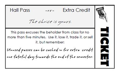 Hall Pass / Extra Credit Ticket from S J Brull on TeachersNotebook.com -  (1…