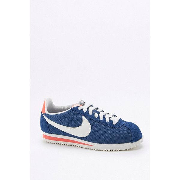 Nike Classic Cortez Blue and White Trainers (€87) ❤ liked on Polyvore featuring shoes, sneakers, blue, blue and white sneakers, lightweight sneakers, blue shoes, light weight shoes and nike