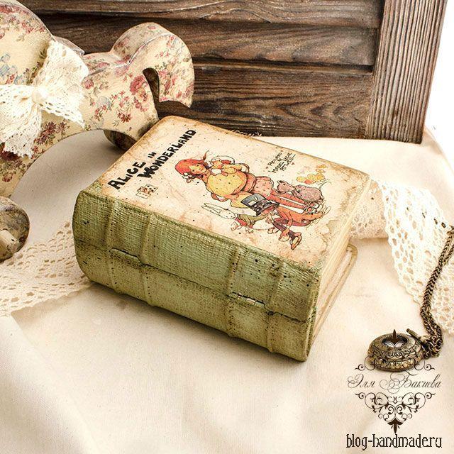 Шкатулка книга - имитация под старину в технике декупаж