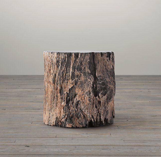 Petrified Wood Stump Dark Side Table