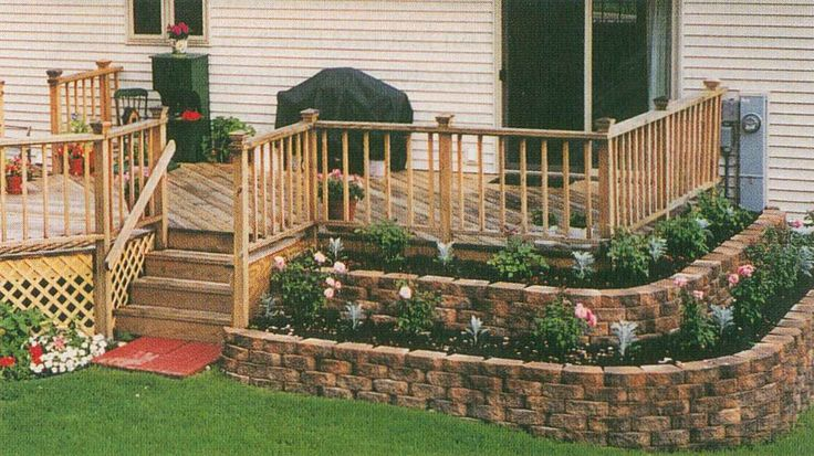 garden layers around deck garden backyard pinterest