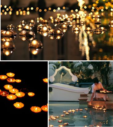 So, we've been trying to figure out what to do to the pool at the reception.. And this is so perfect! At Temple Square during Christmas, a lot of the time they will have these floating candles, which would be so beautiful in the pool at our evening reception!