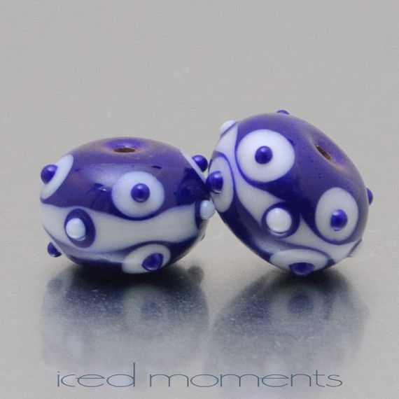 Earring Beads  Faces  dark blue and white  lampwork by IcedMoments, $8.00