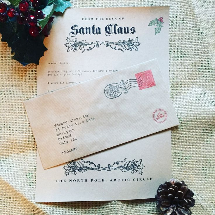 Personalised rustic letter from santa / Father Christmas - baby first christmas by FeatherAndTweed on Etsy https://www.etsy.com/uk/listing/477005101/personalised-rustic-letter-from-santa