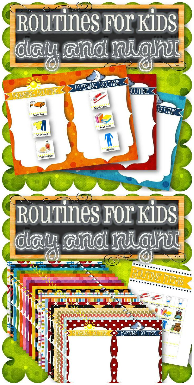 "A fun and fast way to help young children create a morning and night routine, all on one page! Purchase includes 20 different background routine charts (8.5"" x 11"") and basic routine pictures, along with blanks for your own ideas. Simply print and create! Updates are fast and easy as child's routine changes. Such a cute idea!"