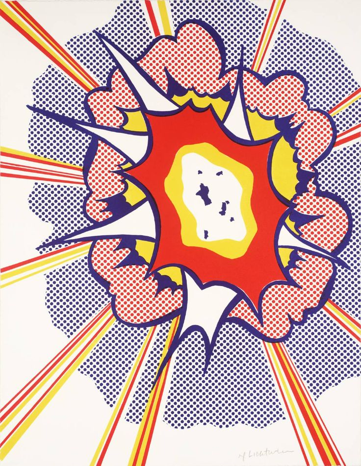 Artist  Roy Lichtenstein (1923‑1997)  Title  Explosion  Date 1965-6  MediumLithograph on paper  Dimensionsimage: 562 x 435 mm  Collection  Tate