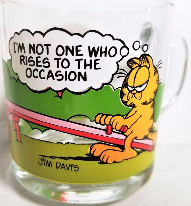 Garfield Vintage 1987 I'm Not One Who Rises 2 Occasion McDonald's Coffee Mug #McDonalds